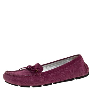 Gucci Purple Gg Suede Leather Bow Slip On Size 36.5 Loafers
