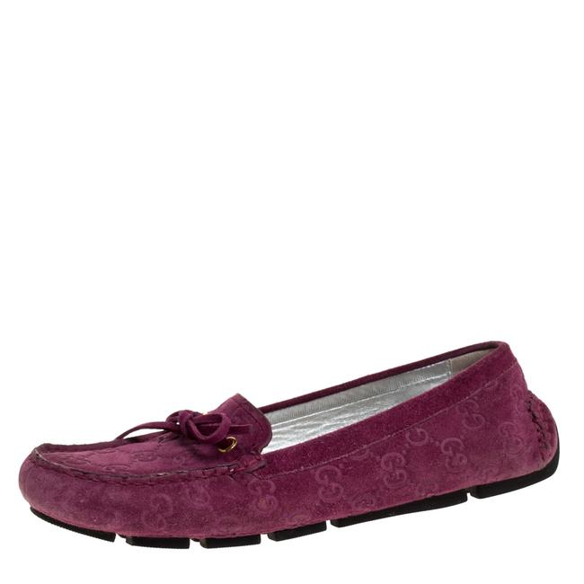 Gucci Purple Gg Suede Leather Bow Slip On Size 36.5 Loafers Gucci Purple Gg Suede Leather Bow Slip On Size 36.5 Loafers Image 1
