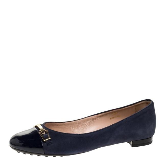 Item - Navy Blue Suede and Patent Leather Cap Toe Buckle Ballet Size 36.5 Flats