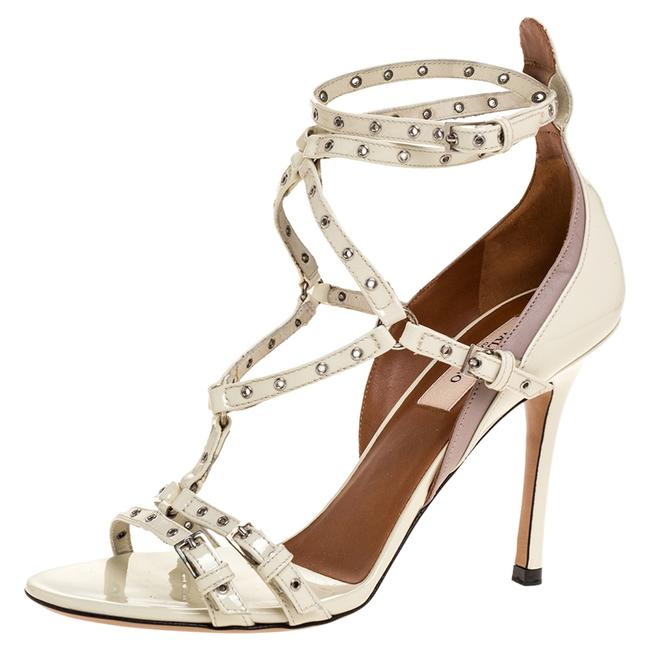 Item - White Patent Leather Eyelet Detail Strappy Size 36.5 Sandals