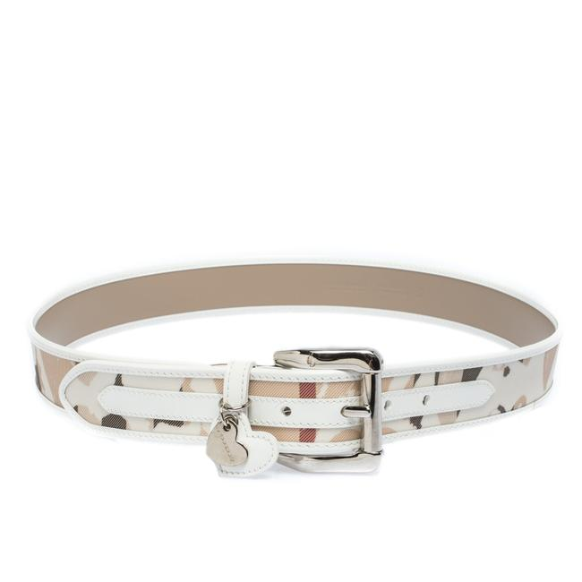 Item - White Heart Check Pvc and Leather Heart Charm Buckle 90cm Belt