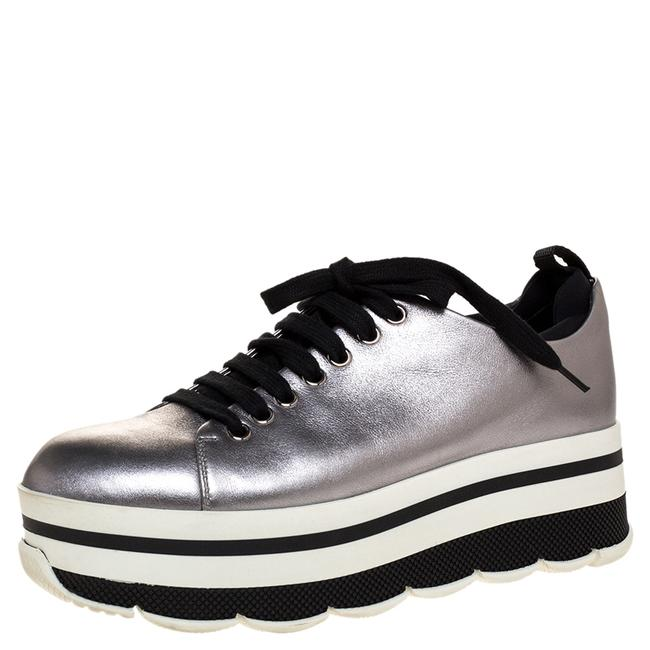 Item - Metallic Silver Leather Lace Up Platform Sneakers Size 37 Athletic