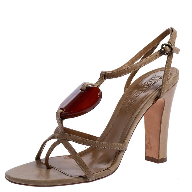 Item - Beige Leather Heart T Strap Size 38.5 Sandals