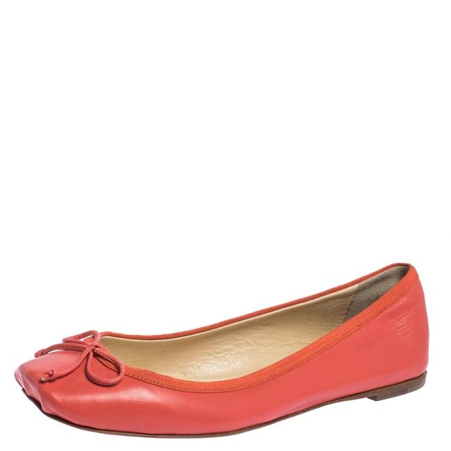Item - Coral Orange Leather Rosella Bow Ballet Size 36.5 Flats