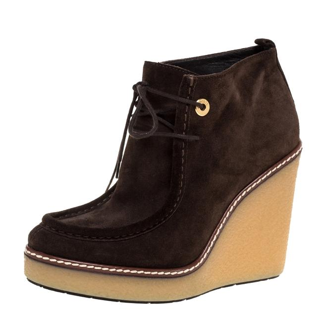 Item - Brown Suede Celie Lace Up Wedge Ankle Size 37 Boots/Booties