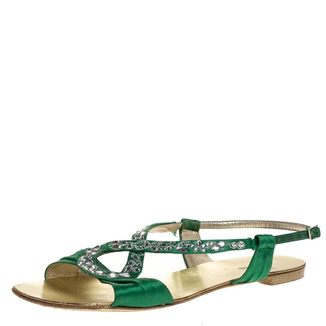 Item - Green Satin Crystal Embellished Ankle Strap Flat Size 38.5 Sandals