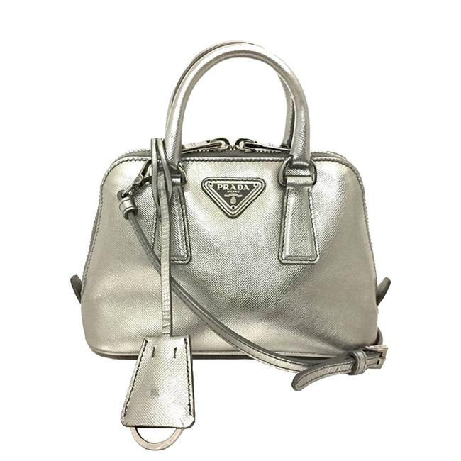 Item - Promenade Silver Leather Small Satchel