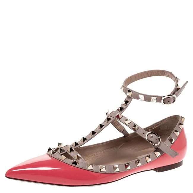 Item - Pink Patent Leather Rockstud Strappy Ballet Size 39.5 Flats