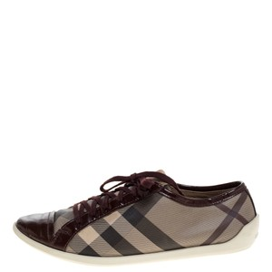 Burberry Beige/Burgundy Nova Check Canvas and Patent Leather Lace Up Sneakers Size 40 Athletic
