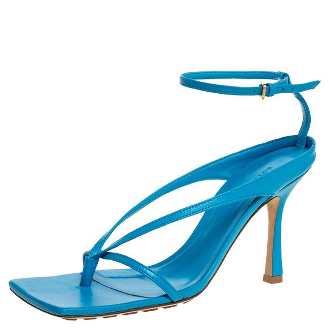 Item - Blue Leather Square Toe Ankle Strap Size 37 Sandals