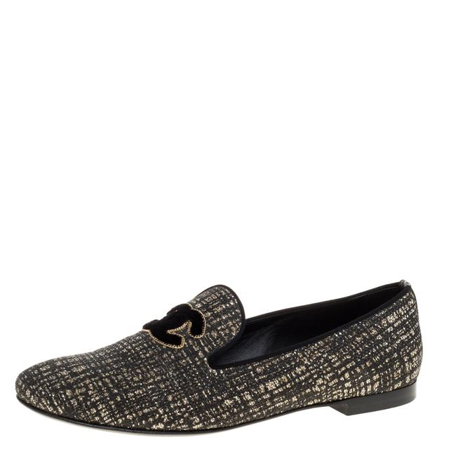 Item - Shimmery Black Fabric Cc Smoking Slippers Size 39.5 Flats