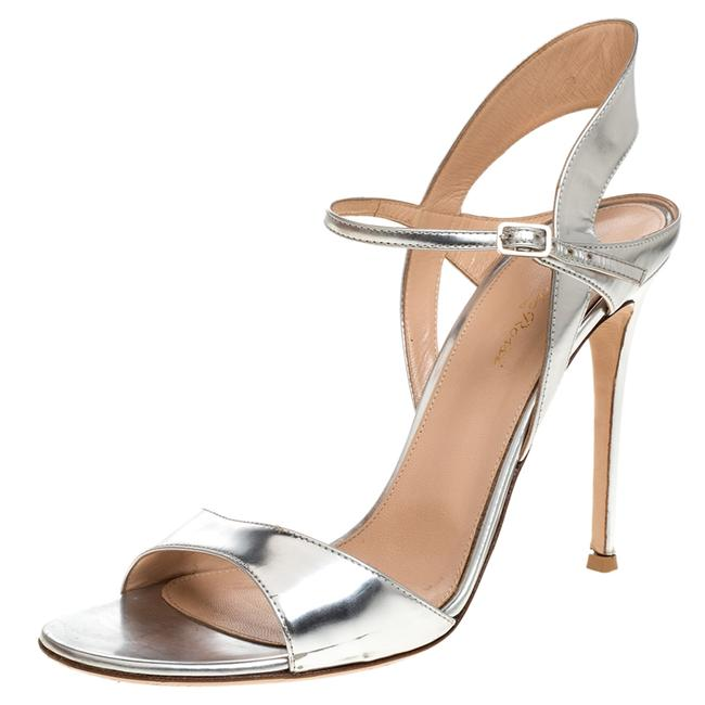 Item - Silver Leather Ankle Strap Size 41 Sandals