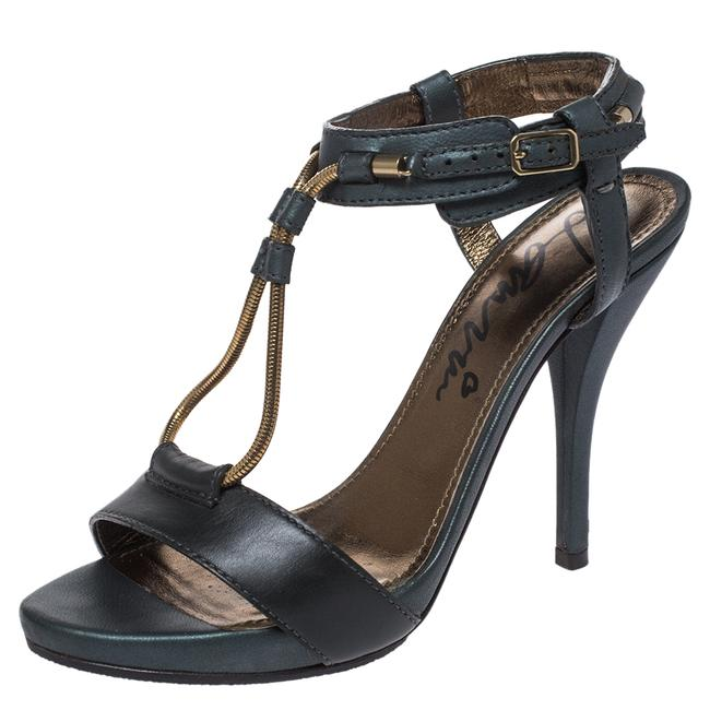 Item - Dark Green Leather and Elastic Metal String T-strap Open Size 35.5 Sandals