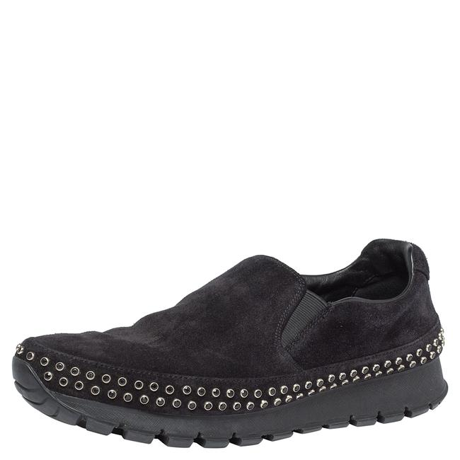 Item - Black Suede Leather Studded Sole Slip On Sneakers Size 39 Athletic