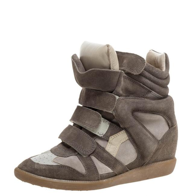 Item - Grey Suede and Leather Bekett Wedge High Top Sneakers Size 38 Athletic
