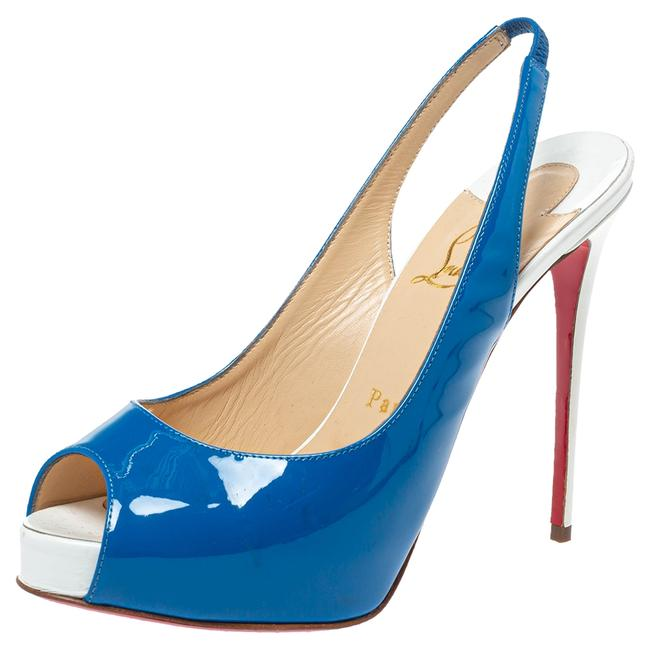 Item - Blue/White Patent and Leather Private Number Peep Toe Slingback Size 37.5 Sandals