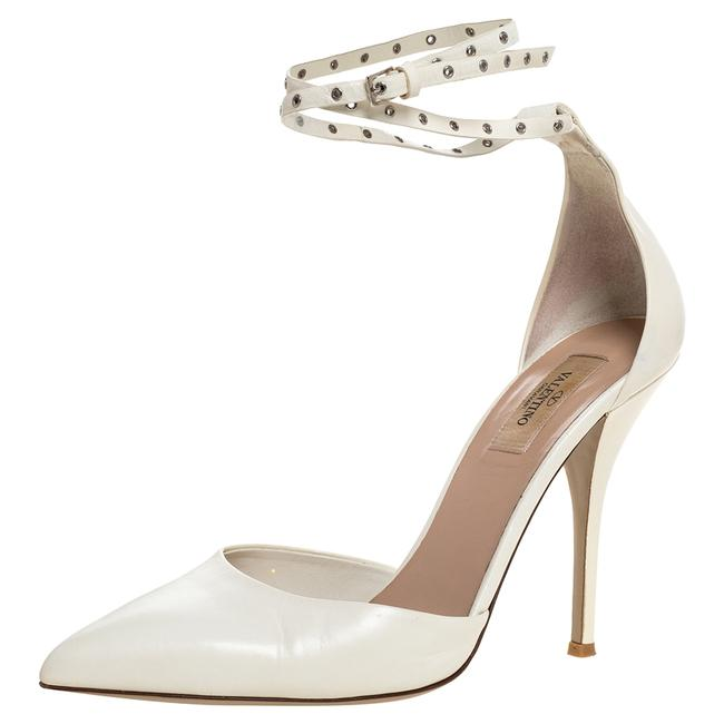 Item - White Leather Eyelet Ankle Strap Pointed Size 41 Pumps