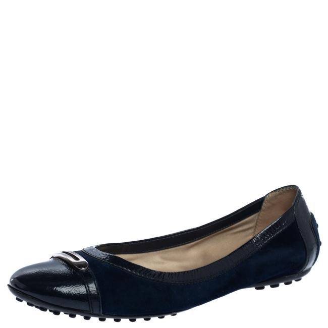 Item - Navy Blue Suede and Patent Leather Cap Toe Buckle Ballet Size 38 Flats