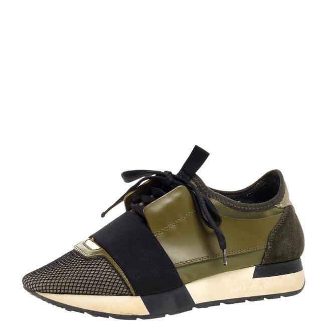 Item - Military Green Leather and Suede Race Runner Low Top Sneakers Size 37 Athletic