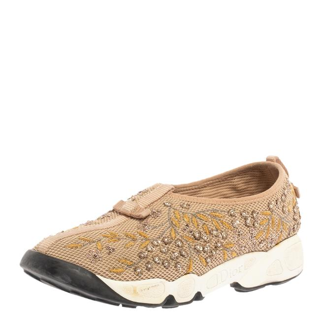 Item - Beige Mesh Fusion Floral Embellished and Embroidered Slip On Sneakers Size 38.5 Athletic
