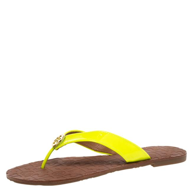 Item - Neon Green Patent Leather Thora Thong Size 39 Flats