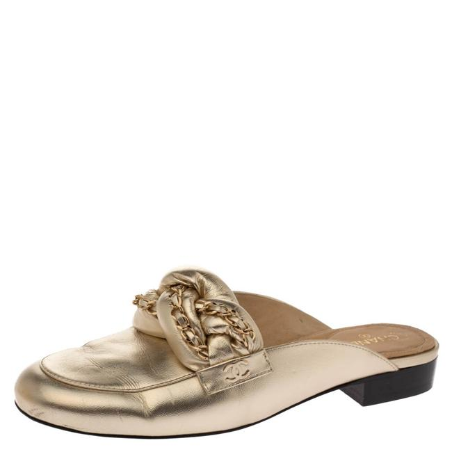 Item - Metallic Gold Leather Chain Detail Cc Mules Size 39 Flats