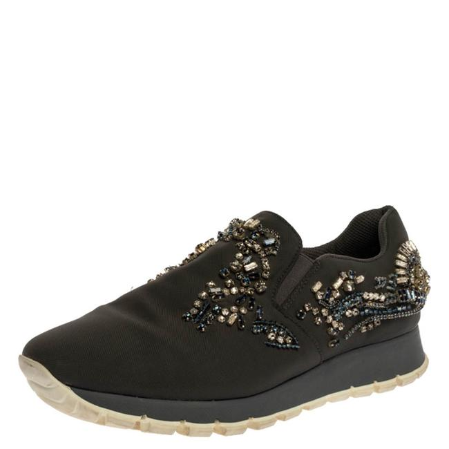 Item - Grey Canvas Crystal Embellished Slip On Sneakers Size 38 Athletic