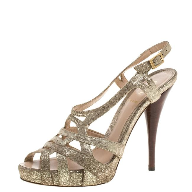 Item - Grey Gold Foiled Suede Caged Ankle Strap Size 37.5 Sandals