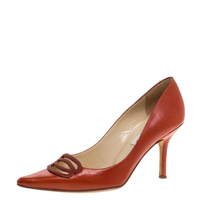 Jimmy Choo Orange Leather Pointed Size 37.5 Pumps Jimmy Choo Orange Leather Pointed Size 37.5 Pumps Image 1
