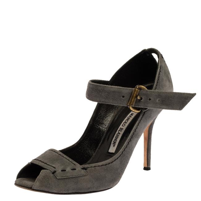 Item - Grey Suede Leather Peep Toe Ankle Strap Size 39 Sandals