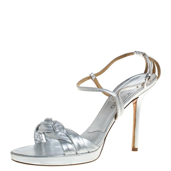 Item - Silver Leather Braided Ankle Strap Size 38 Sandals