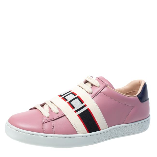 Item - Pink Leather Ace Stripe Low Top Sneakers Size 35 Athletic