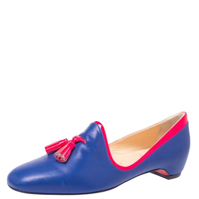 Item - Blue/Neon Pink Leather Lady Moc Tassel Smoking Slippers Size 38 Flats
