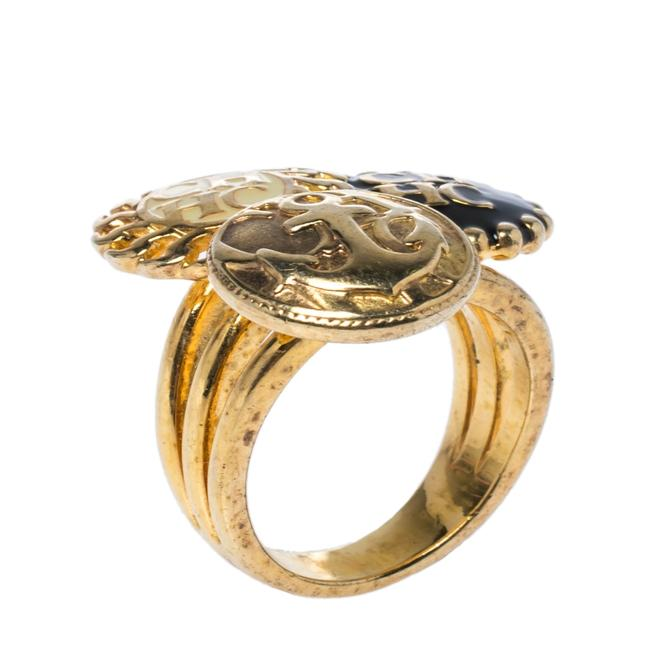 Item - Enamel Gold Tone Ring Size 54.5 Jewelry