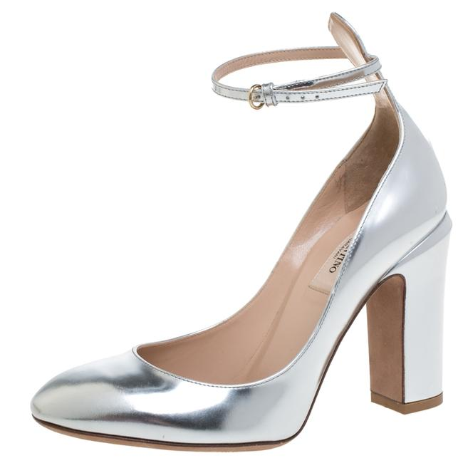 Valentino Tango Silver Foil Leather Ankle Strap Size 37.5 Pumps Valentino Tango Silver Foil Leather Ankle Strap Size 37.5 Pumps Image 1