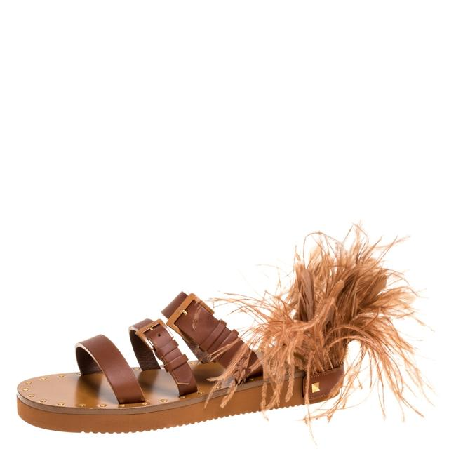 Item - Brown Leather Feather Detail Flat Slide Size 39 Sandals