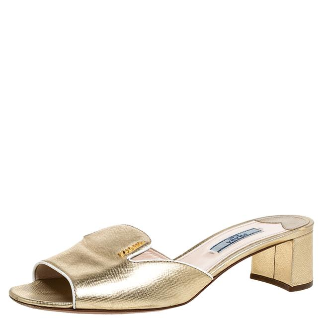 Prada Gold Leather Open Toe Slip On Size 37.5 Sandals Prada Gold Leather Open Toe Slip On Size 37.5 Sandals Image 1
