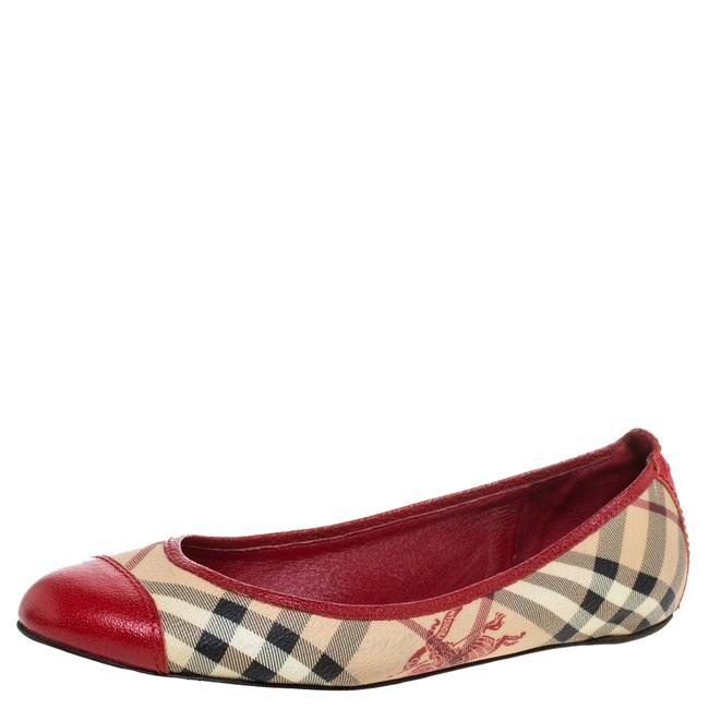 Item - Beige/Red Coated Canvas and Leather Round Cap Toe Ballet Size 39 Flats