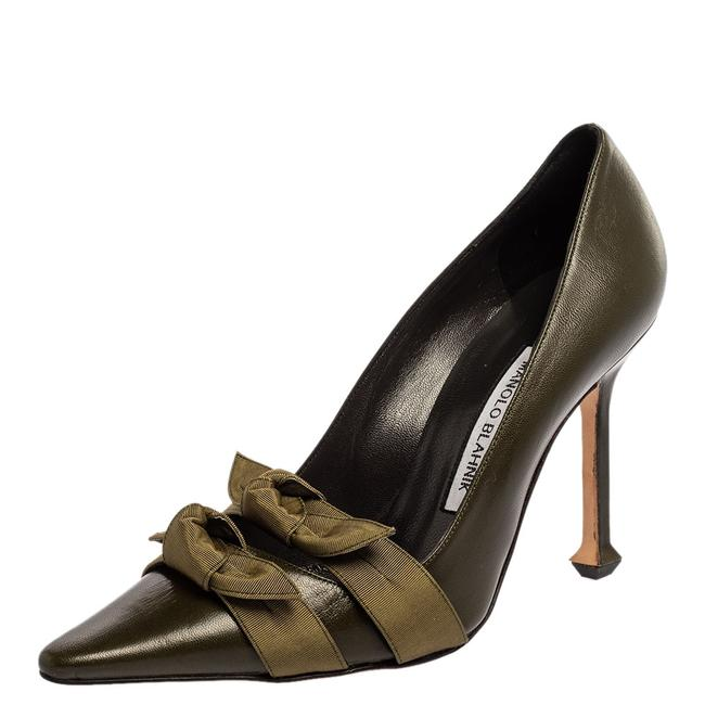 Item - Green Leather Bow Pointed Size 37 Pumps