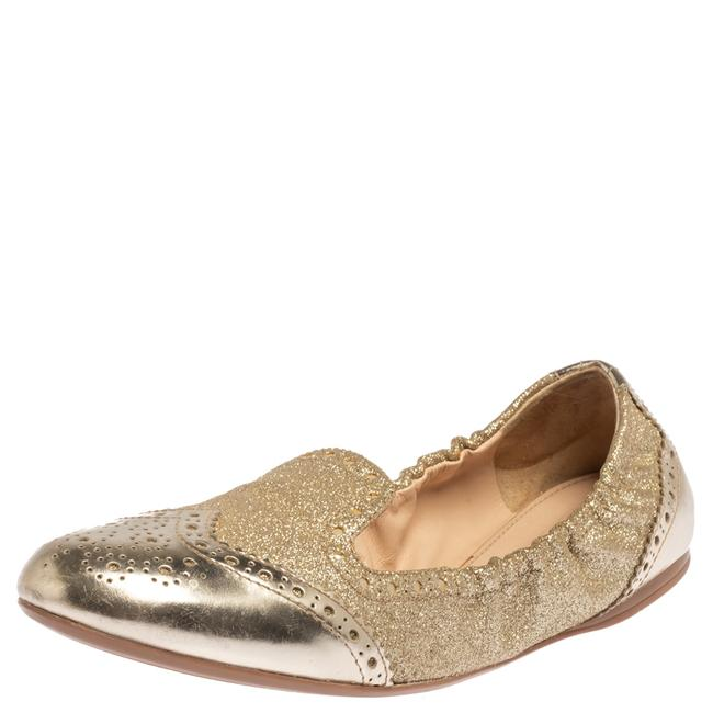Item - Gold Glitter Fabric and Patent Leather Brogue Scrunch Ballet Size 37.5 Flats