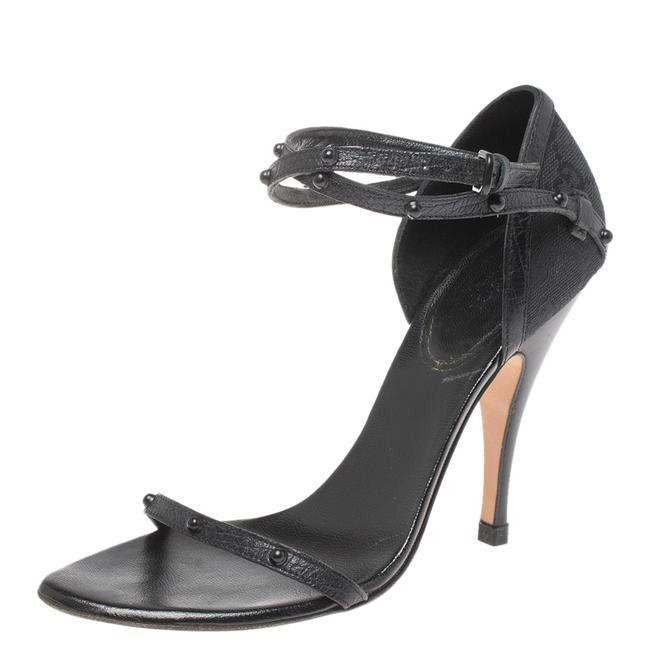Gucci Black Leather and Gg Canvas Studded Ankle Strap Size 36 Sandals Gucci Black Leather and Gg Canvas Studded Ankle Strap Size 36 Sandals Image 1