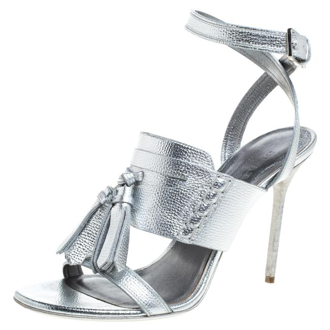 Item - Metallic Silver Leather Bethany Ankle Strap Size 39 Sandals