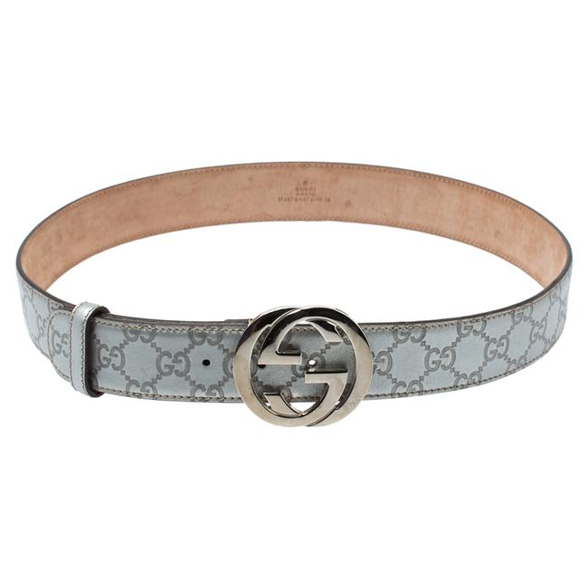 Item - Silver ssima Leather Interlocking G Buckle 90cm Belt