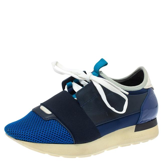 Item - Blue Mesh and Leather Race Runner Low Top Sneaker Size 37 Athletic