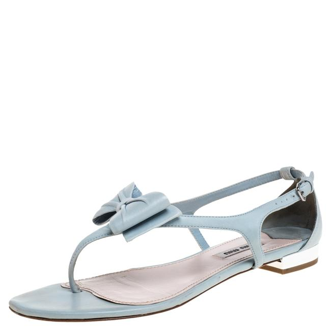 Item - Light Blue Leather Bow Thong Flat Size 39 Sandals
