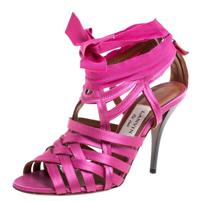 Item - Pink Satin Strappy Ankle Wrap Size 38 Sandals
