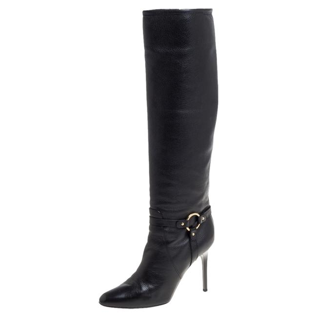 Item - Black Leather Knee Length Pointed Size 38.5 Boots/Booties