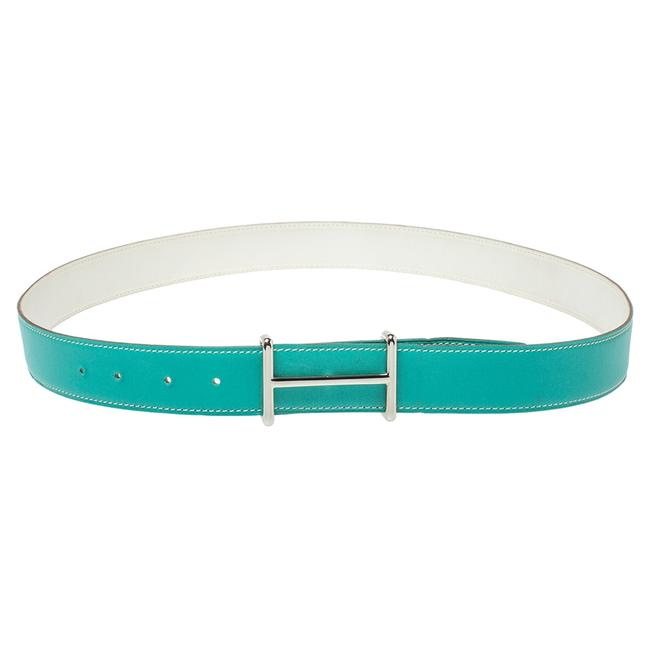 Item - Green/White Leather Idem Reversible Size 95 Cm Belt
