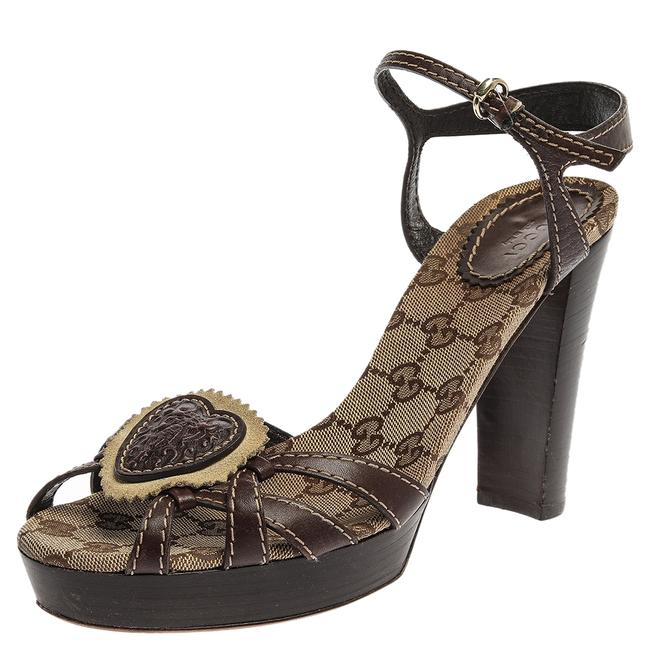 Gucci Hysteria Brown Gg Canvas and Leather Ankle Strap Platform Size 39 Sandals Gucci Hysteria Brown Gg Canvas and Leather Ankle Strap Platform Size 39 Sandals Image 1