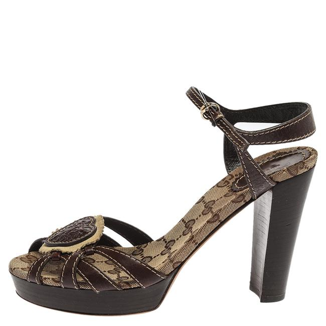 Gucci Hysteria Brown Gg Canvas and Leather Ankle Strap Platform Size 39 Sandals Gucci Hysteria Brown Gg Canvas and Leather Ankle Strap Platform Size 39 Sandals Image 2